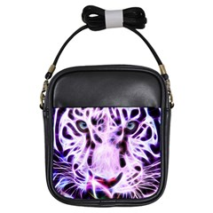 Fractal Wire White Tiger Girls Sling Bags by Simbadda