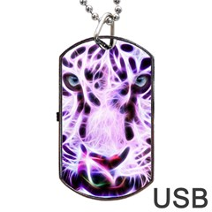 Fractal Wire White Tiger Dog Tag Usb Flash (one Side) by Simbadda