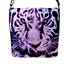 Fractal Wire White Tiger Flap Messenger Bag (l)  by Simbadda