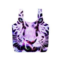 Fractal Wire White Tiger Full Print Recycle Bags (s)  by Simbadda