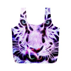 Fractal Wire White Tiger Full Print Recycle Bags (m)  by Simbadda