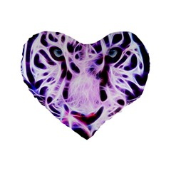 Fractal Wire White Tiger Standard 16  Premium Flano Heart Shape Cushions by Simbadda