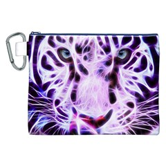 Fractal Wire White Tiger Canvas Cosmetic Bag (xxl) by Simbadda