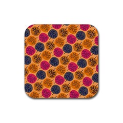Colorful Trees Background Pattern Rubber Square Coaster (4 Pack)  by Simbadda