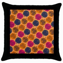 Colorful Trees Background Pattern Throw Pillow Case (black) by Simbadda
