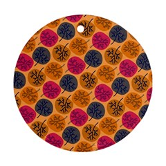Colorful Trees Background Pattern Round Ornament (two Sides)
