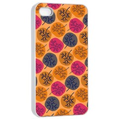 Colorful Trees Background Pattern Apple Iphone 4/4s Seamless Case (white) by Simbadda
