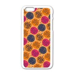 Colorful Trees Background Pattern Apple Iphone 6/6s White Enamel Case by Simbadda