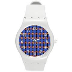 Abstract Lines Seamless Pattern Round Plastic Sport Watch (m) by Simbadda