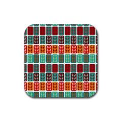 Bricks Abstract Seamless Pattern Rubber Coaster (square)  by Simbadda