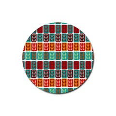 Bricks Abstract Seamless Pattern Rubber Round Coaster (4 Pack)  by Simbadda