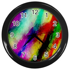 Colorful Abstract Paint Splats Background Wall Clocks (black) by Simbadda
