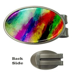 Colorful Abstract Paint Splats Background Money Clips (oval)  by Simbadda