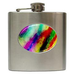Colorful Abstract Paint Splats Background Hip Flask (6 Oz) by Simbadda