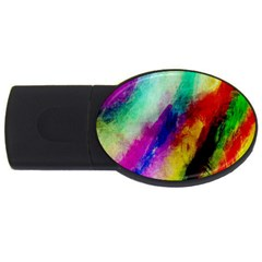 Colorful Abstract Paint Splats Background Usb Flash Drive Oval (4 Gb) by Simbadda