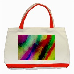 Colorful Abstract Paint Splats Background Classic Tote Bag (red)