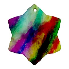 Colorful Abstract Paint Splats Background Ornament (snowflake) by Simbadda