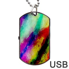 Colorful Abstract Paint Splats Background Dog Tag Usb Flash (one Side) by Simbadda