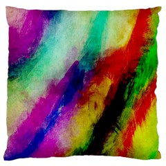 Colorful Abstract Paint Splats Background Large Cushion Case (two Sides) by Simbadda