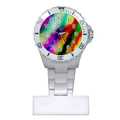 Colorful Abstract Paint Splats Background Plastic Nurses Watch by Simbadda