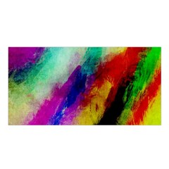Colorful Abstract Paint Splats Background Satin Shawl by Simbadda