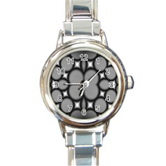 Mirror Of Black And White Fractal Texture Round Italian Charm Watch by Simbadda