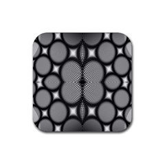 Mirror Of Black And White Fractal Texture Rubber Coaster (square)  by Simbadda