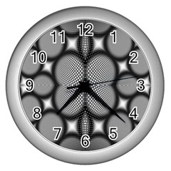 Mirror Of Black And White Fractal Texture Wall Clocks (silver)  by Simbadda
