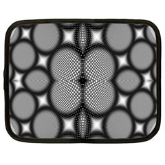 Mirror Of Black And White Fractal Texture Netbook Case (xl)  by Simbadda
