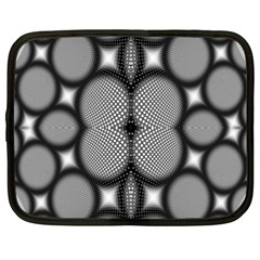 Mirror Of Black And White Fractal Texture Netbook Case (xxl)  by Simbadda