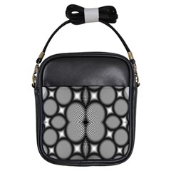 Mirror Of Black And White Fractal Texture Girls Sling Bags by Simbadda