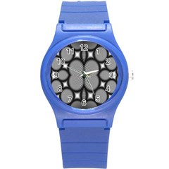 Mirror Of Black And White Fractal Texture Round Plastic Sport Watch (s) by Simbadda