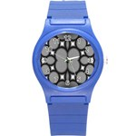 Mirror Of Black And White Fractal Texture Round Plastic Sport Watch (S) Front