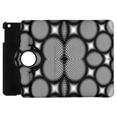 Mirror Of Black And White Fractal Texture Apple iPad Mini Flip 360 Case by Simbadda