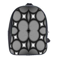 Mirror Of Black And White Fractal Texture School Bags (xl)  by Simbadda