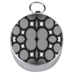 Mirror Of Black And White Fractal Texture Silver Compasses by Simbadda
