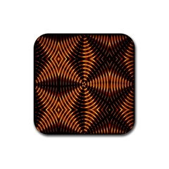 Fractal Pattern Of Fire Color Rubber Coaster (square)  by Simbadda