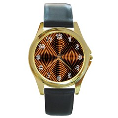 Fractal Pattern Of Fire Color Round Gold Metal Watch by Simbadda