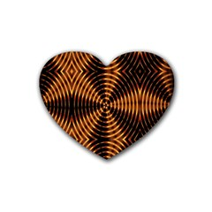 Fractal Pattern Of Fire Color Rubber Coaster (heart)  by Simbadda