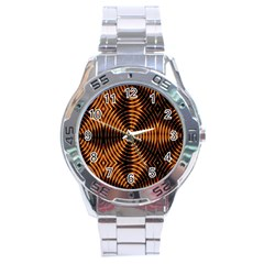 Fractal Pattern Of Fire Color Stainless Steel Analogue Watch by Simbadda