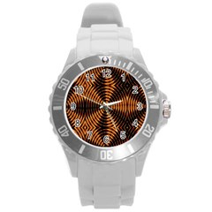 Fractal Pattern Of Fire Color Round Plastic Sport Watch (l) by Simbadda