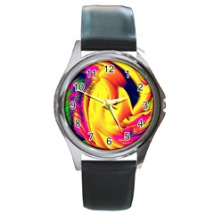 Stormy Yellow Wave Abstract Paintwork Round Metal Watch by Simbadda
