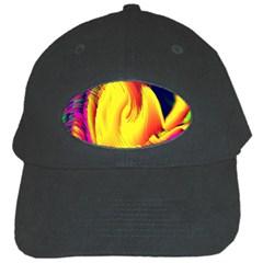 Stormy Yellow Wave Abstract Paintwork Black Cap by Simbadda