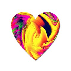 Stormy Yellow Wave Abstract Paintwork Heart Magnet by Simbadda