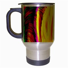 Stormy Yellow Wave Abstract Paintwork Travel Mug (silver Gray) by Simbadda