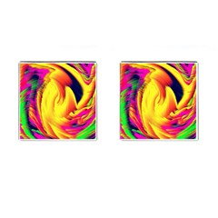 Stormy Yellow Wave Abstract Paintwork Cufflinks (square) by Simbadda