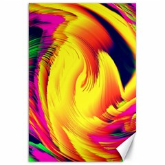 Stormy Yellow Wave Abstract Paintwork Canvas 20  X 30   by Simbadda