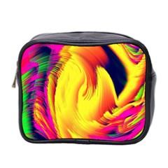 Stormy Yellow Wave Abstract Paintwork Mini Toiletries Bag 2 Side by Simbadda