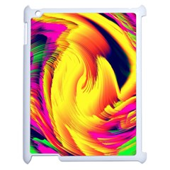 Stormy Yellow Wave Abstract Paintwork Apple Ipad 2 Case (white) by Simbadda