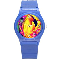 Stormy Yellow Wave Abstract Paintwork Round Plastic Sport Watch (s) by Simbadda
